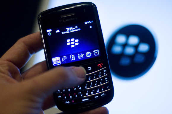 A BlackBerry handset is displayed in Washington, DC.