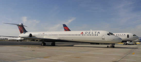 Delta Airlines MD-90 at Hartsfield-Jackson International Airport in Atlanta.