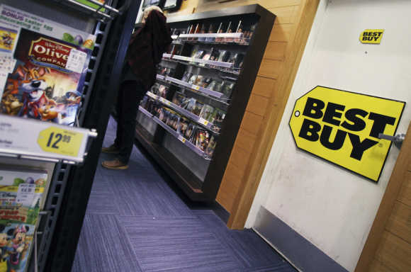 The inside of a Best Buy store is seen in New York.