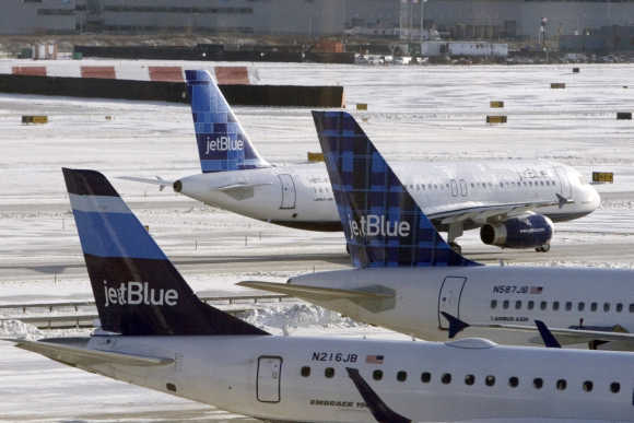 Jet Blue airplanes are see at JFK Airport in New York.