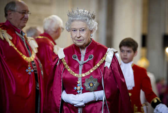 Britain's Queen Elizabeth attends a service for the Order of the British Empire at St Paul's Cathedral in London.