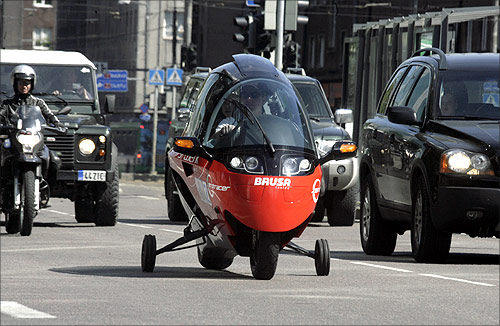 Zerotracer electric car is driven during the Electric Car Rally from Tallinn to Monte Carlo event in Tallinn.