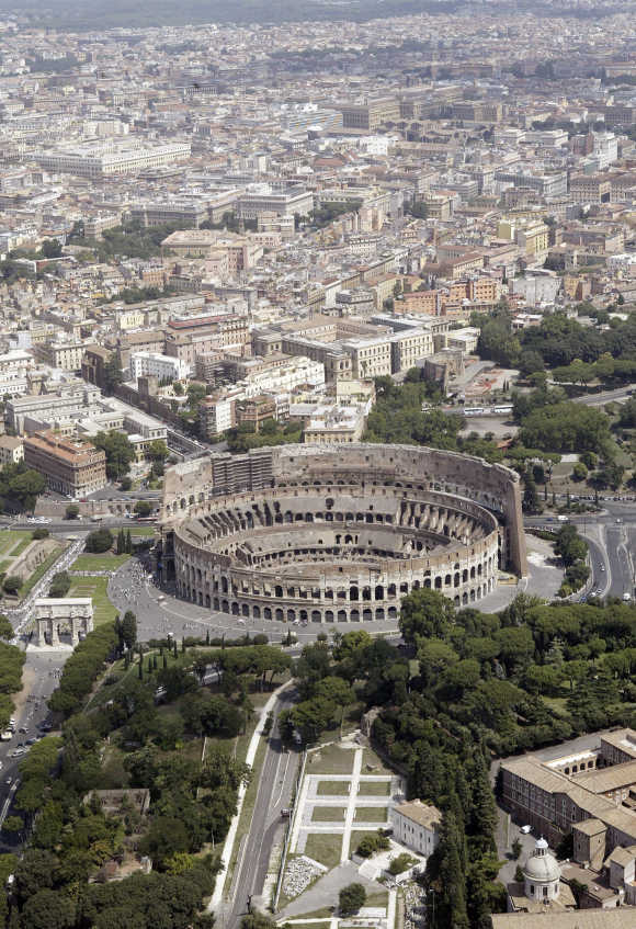 Rome's ancient Colosseum is seen from a helicopter.