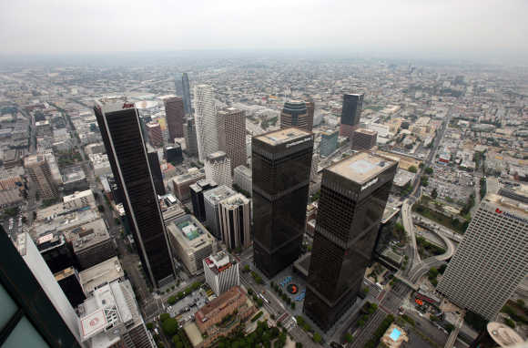 A view of the downtown area is pictured in Los Angeles.