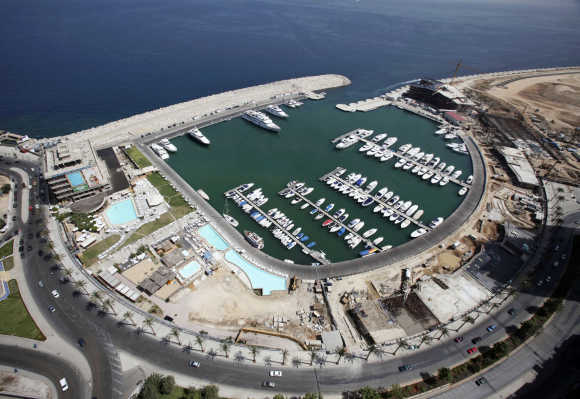 An aerial view shows Saint-George Yacht Club surrounded by construction work in Beirut.