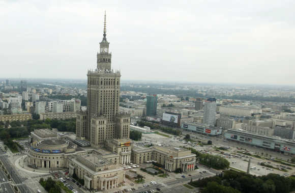 A view of the capital of Poland with the biggest structure in the city, the Palace of Culture, in Warsaw.