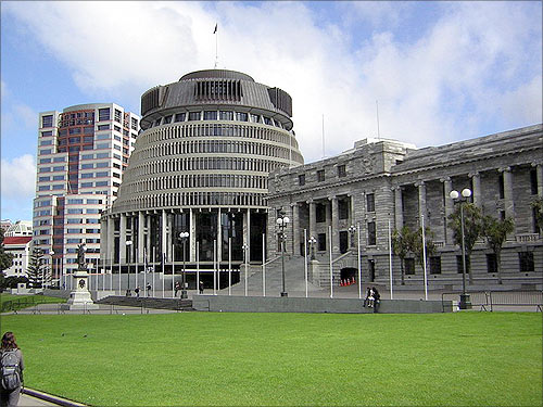 Bowen House, the Beehive and Parliament, New Zealand