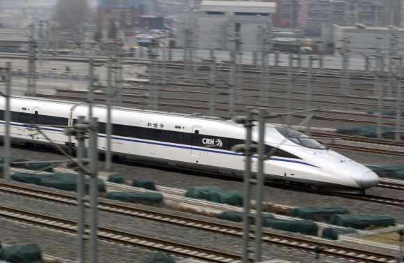 High speed trains travel at their maximum speed on specific tracks.