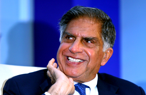 Chairman of Tata group Ratan Tata smiles during an industry conference in New Delhi.