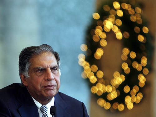 Ratan Tata speaks during the re-opening of the group's Taj Mahal hotel in Mumbai.