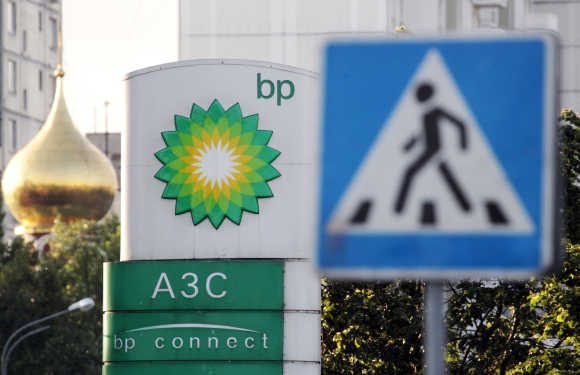 A sign board of a BP petrol station is seen in Moscow.