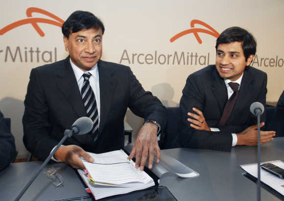 Chairman and Chief Executive Officer Lakshmi Mittal, left, and Chief Financial Officer Aditya Mittal, right, in Luxembourg.