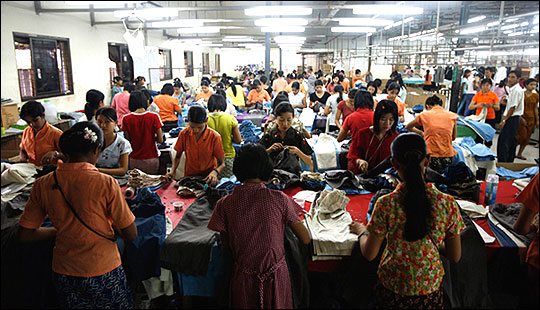 Workers at a garment factory at Rangoon's Hlaing Tar Yar Industrial Zone.