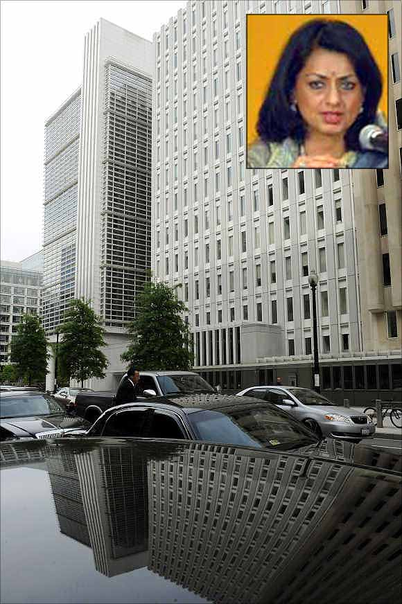 Kalpana Kochhar, inset, and World Bank building in Washington, DC.