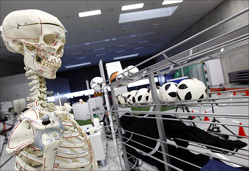 A skeleton and measurement instruments are pictured at the Adidas innovation laboratory in Herzogenaurach.