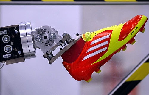 A robotic leg is pictured at the Adidas innovation laboratory in Herzogenaurach.