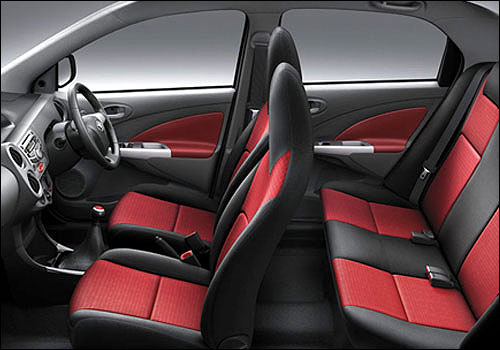 Interior of Toyota Etios sedan.