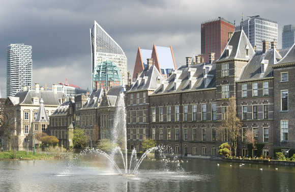 A view of the House of Parliament at the Hague, the Netherlands.