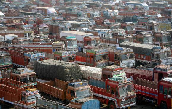 Trucks parked at a terminal in Mumbai.