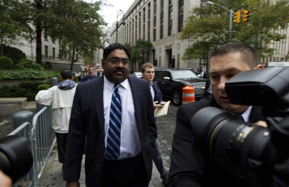 Raj Rajaratnam arrives at Manhattan Federal Court in New York, a file photo.