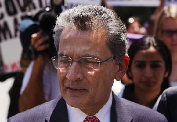 Rajat Gupta leaves Manhattan Federal Court, a file photo.
