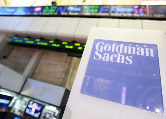 A Goldman Sachs sign is seen on the floor of the New York Stock Exchange.