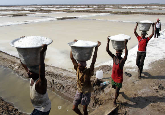Workers carry salt to load it in a supply truck at a salt pan in Chennai.