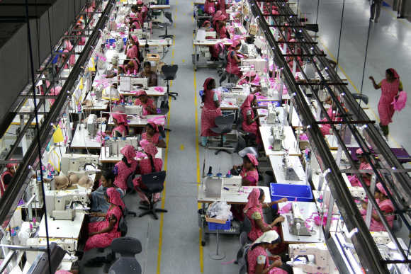 Workers at the Intimate Fashions factory in Kanchipuram district, 30km south of Chennai.