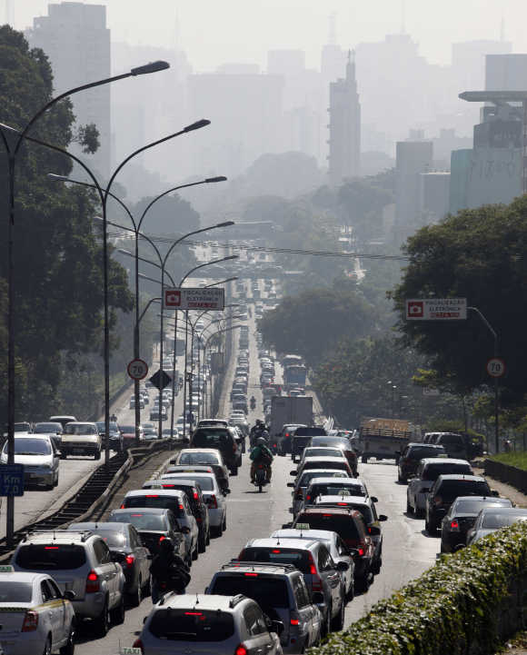 A traffic jam is seen at the main avenue in Sao Paulo.