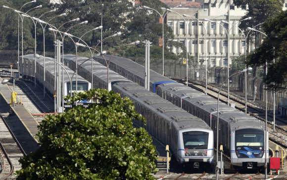 Subway trains are seen parked at Jabaquara station in Sao Paulo.