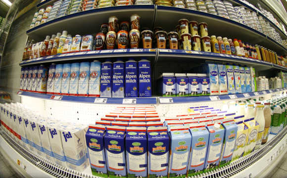 Dairy products are on display at a supermarket in Berlin.