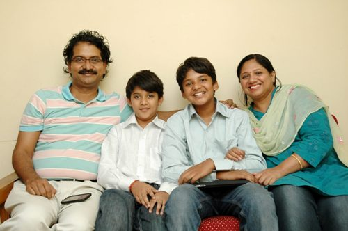 Sanjay and Shravan with their parents.