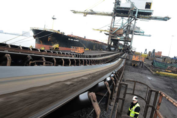 Iron ore from Brazil is delivered to SSI steel plant at Redcar in northern England.