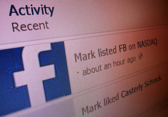 Activity lists 'Mark listed FB on Nasdaq' in this image taken from Mark Zuckerberg's Facebook page.