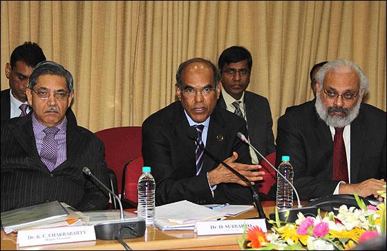 K C Chakrabarty, Deputy Governor, RBI, D Subbarao, Governor, RBI, Subir Gokarn, Deputy Governor(L to R).
