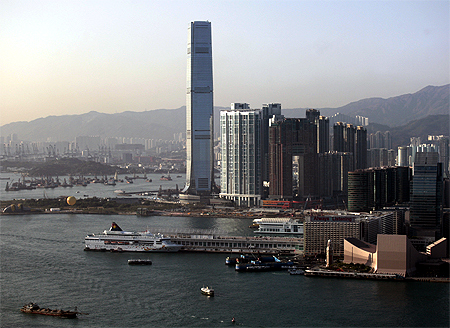 The 484-metre-high International Commerce Centre in Hong Kong