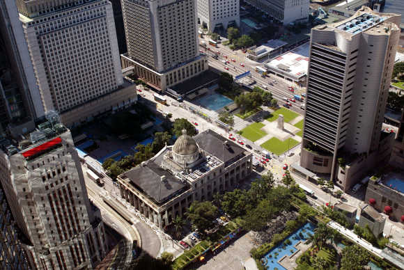 An aerial view shows the Legislative Council building, centre, located in Hong Kong's Central business.