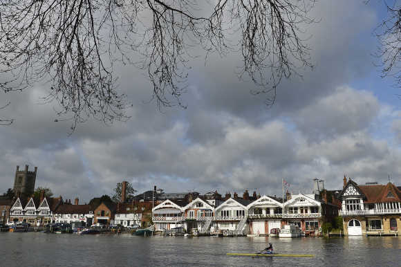 A rower trains on the River Thames at Henley in south east England.