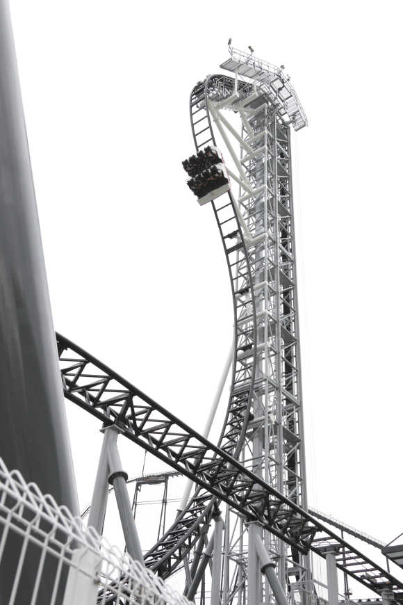 The world's steepest roller coaster 'Takabisha', with a free falling angle of 121 degrees, is seen at Fuji-Q Highland amusement park in Fujiyoshida, west of Tokyo.