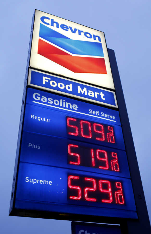 Petrol is priced over five dollars per gallon at a Chevron petrol station in downtown Los Angeles.
