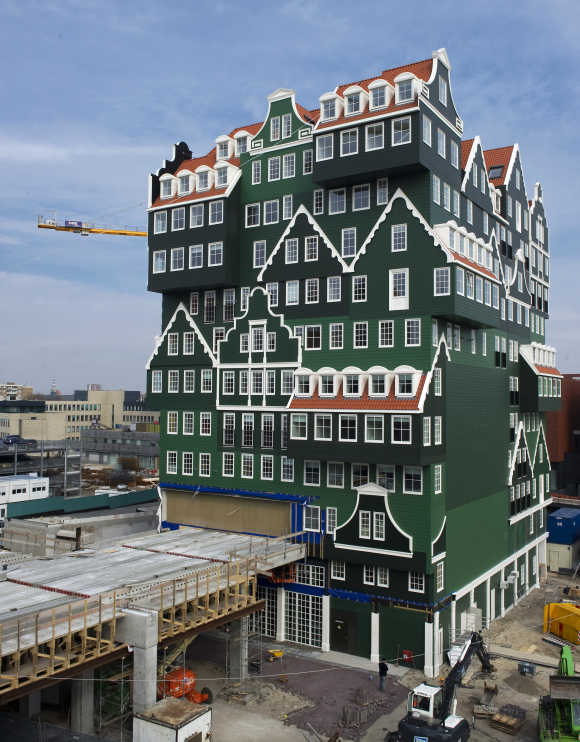 Construction work continues on a hotel made to look like 70 Zaanse houses stacked together in Zaandam, north of Amsterdam.