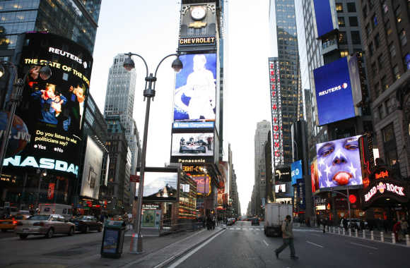 A view of the Times Square in New York City.