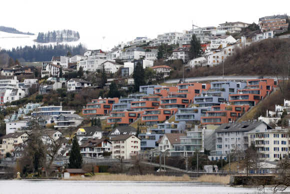 A view of Wollerau village on the edge of Lake Zurich, in the canton of Schwyz, 30km south west of Zurich.