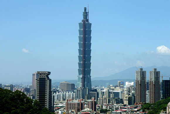 Taipei 101 towers over Taipei's skyline.