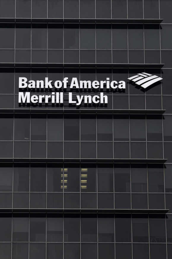 A Bank of America Merrill Lynch sign is seen on a building that houses its offices in Singapore.