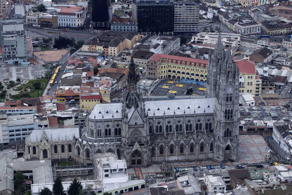 An aerial view of Quito's Basilica church.