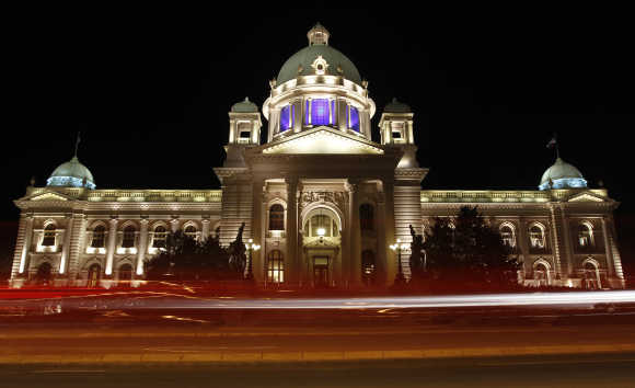 Serbian Parliament building is seen before Earth Hour in Belgrade.