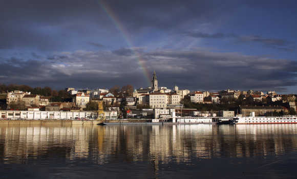 A rainbow is seen over downtown Belgrade.