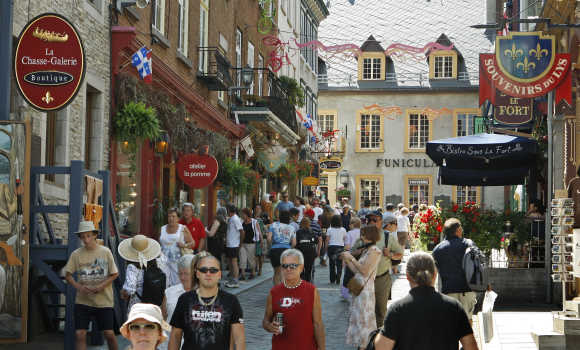 People walk in Old Quebec City.