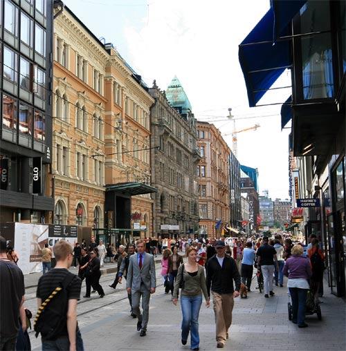 Aleksanterinkatu, a commercial street in Helsinki.